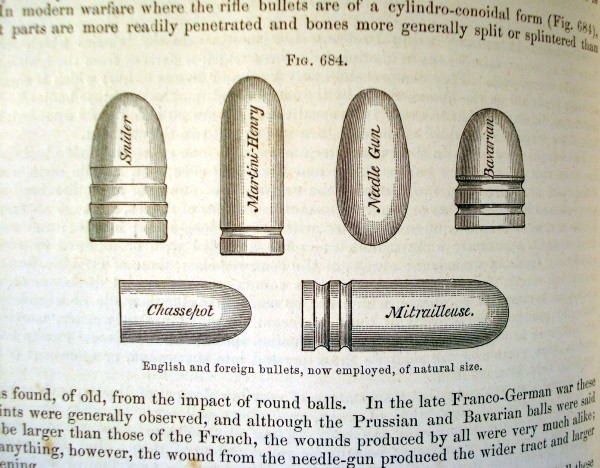 woodcut illustration of bullets used in war