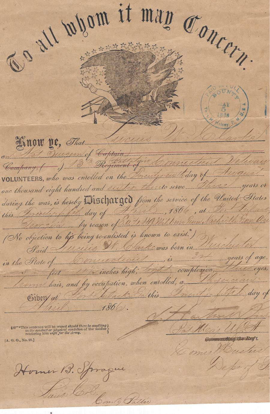 civil war surgeon discharge papers